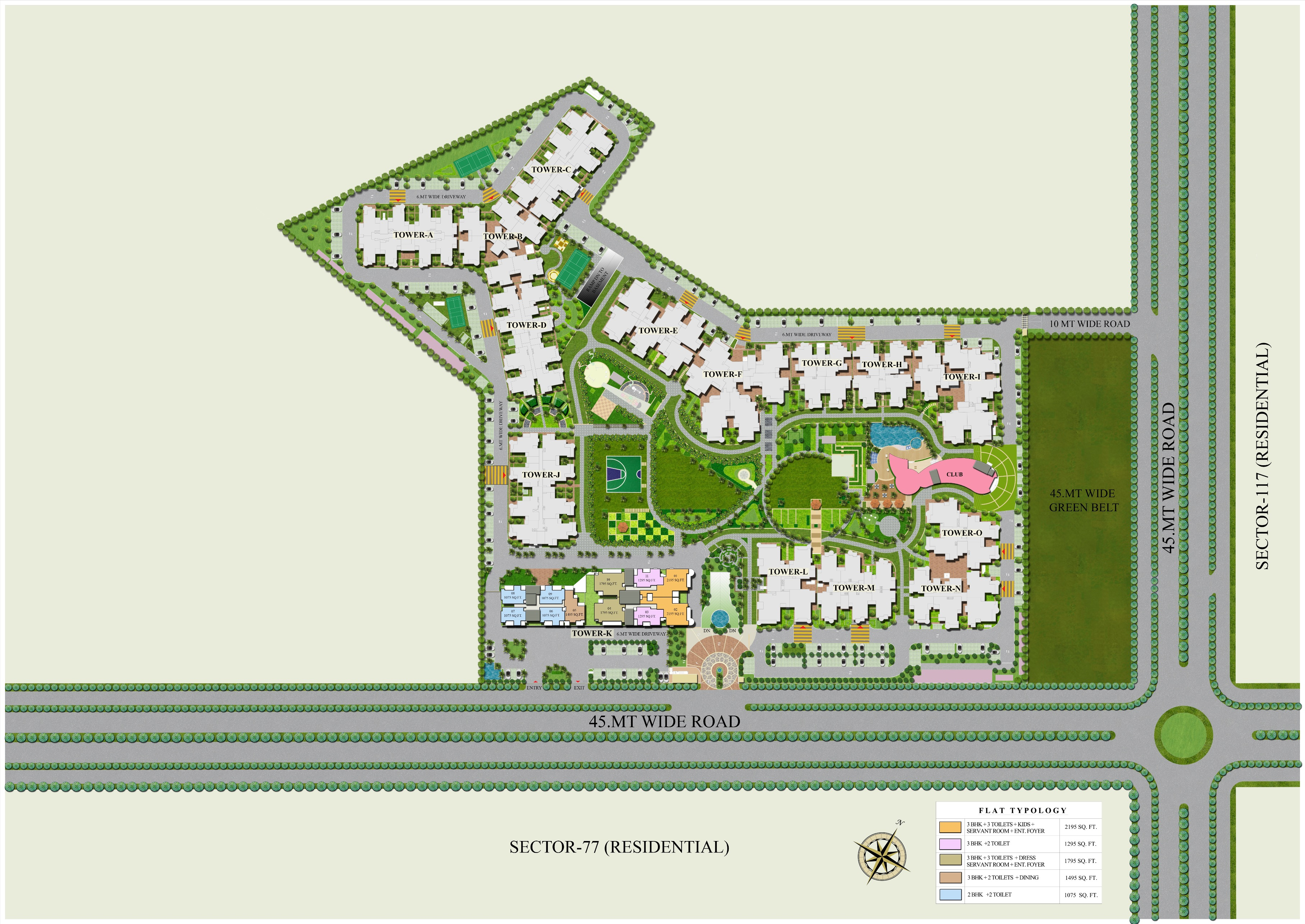 ajnara-grand-heritage-site-plan-for-tower-k